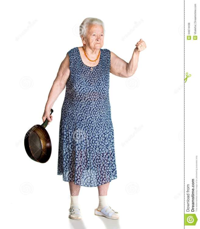 angry-old-woman-pan-white-background-34874438